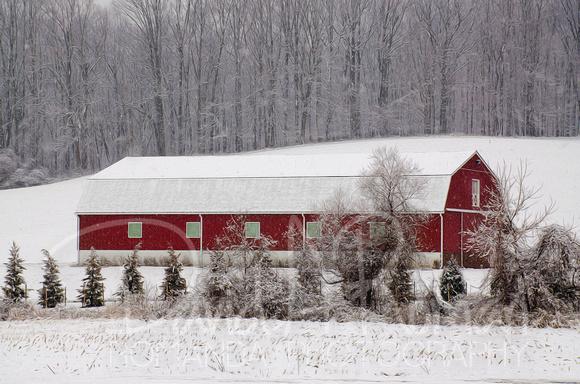 Long Red Snow Barn