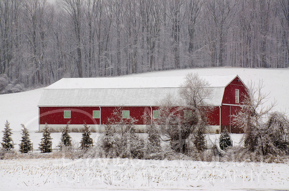 Long Red Snow Barn